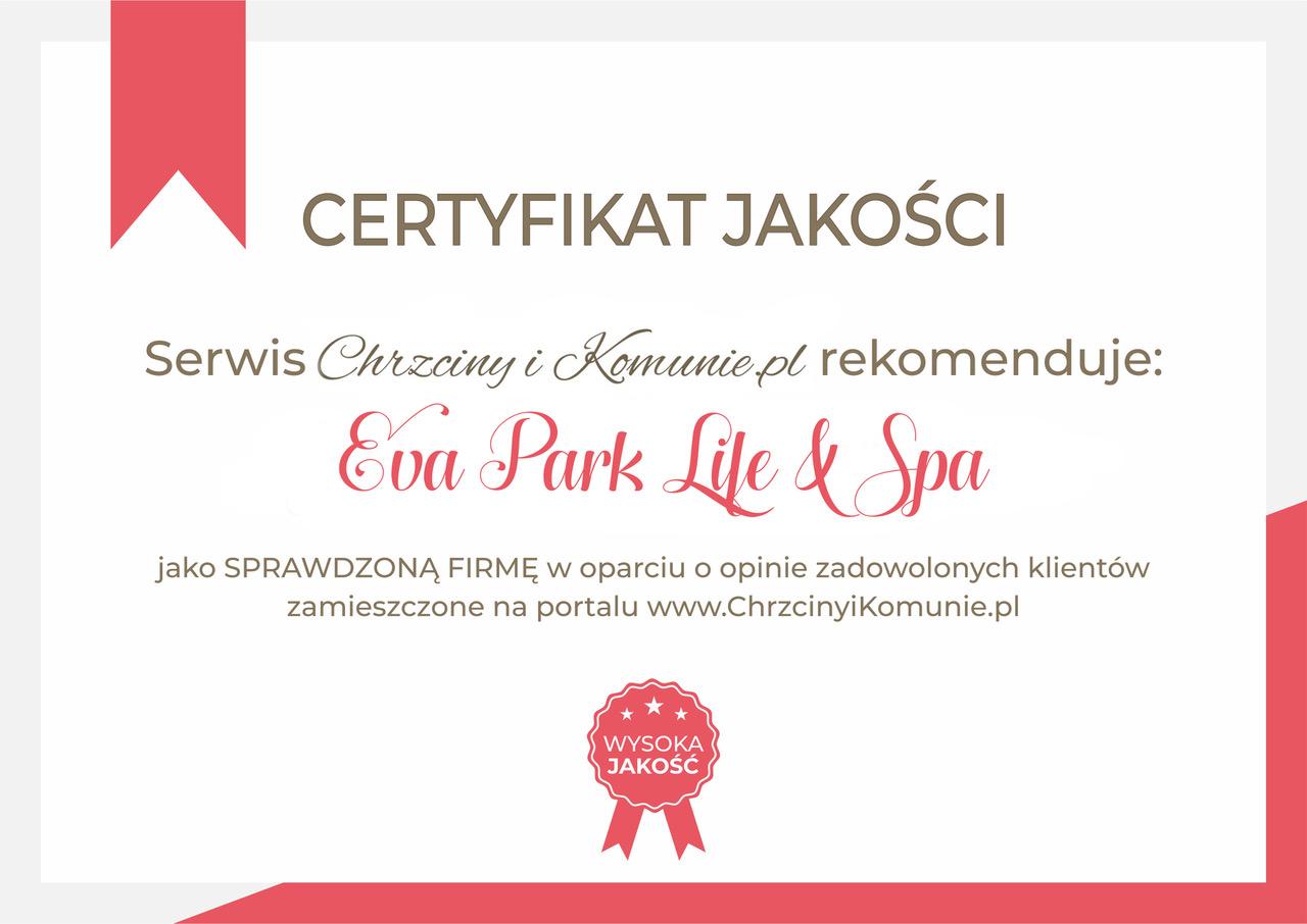 certyfikat Eva Park Life & Spa
